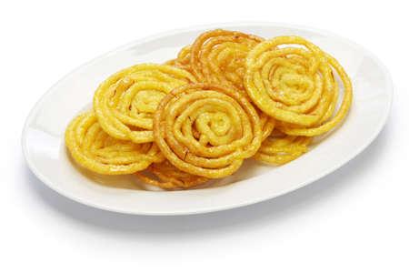 pakistani pakistan: jalebi indian sweet isolated on white background