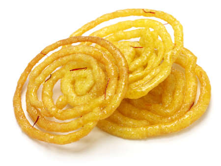 jalebi indian sweet isolated on white background photo