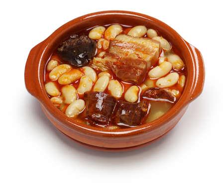 cazuela: fabada asturiana, spanish white bean stew with chorizo, bacon and blood sausage Stock Photo