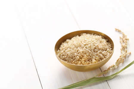 brown rice with ear of rice, japanese healthy food, copy space