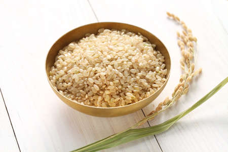 brown rice with ear of rice, japanese healthy food