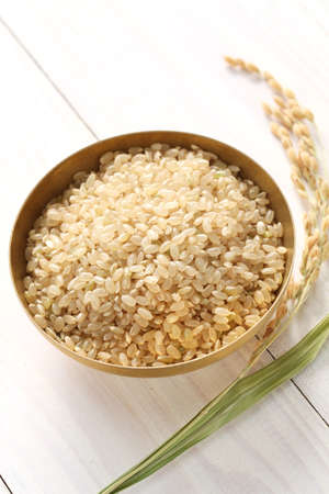 brown rice with ear of rice, japanese healthy food photo