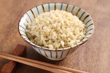 Gekookte bruine rijst, gezond Japans eten