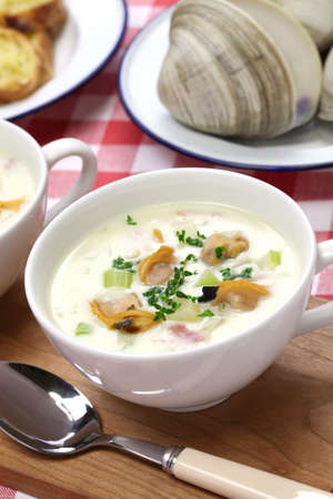 new england clam chowder, american cuisine photo