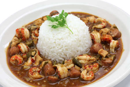 gumbo with crawfish, chicken & sausage, southern food in the united states Archivio Fotografico