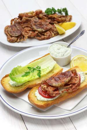 soft shell crab po boy, cajun style submarine sandwich