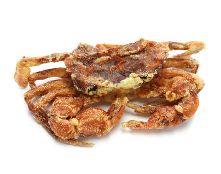 crab: deep fried soft shell crab on white background