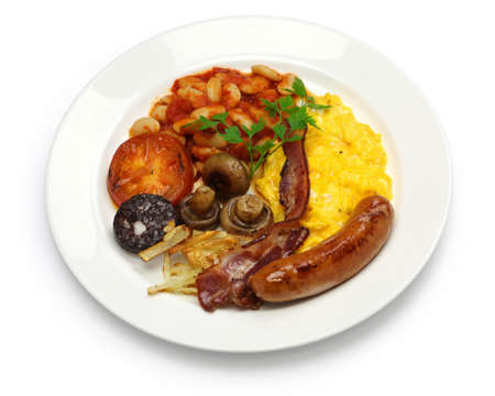 eacute: full english breakfast isolated on white background