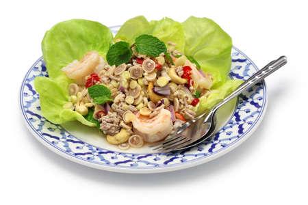 spicy lemongrass salad, yam takrai, thai cuisine isolated on white background photo