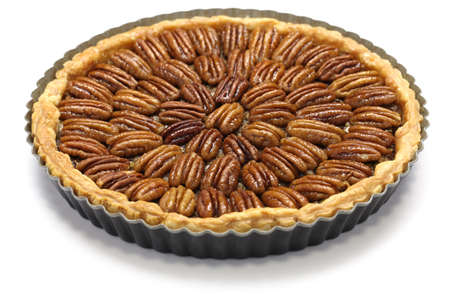pecan: homemade pecan pie isolated on white background Stock Photo