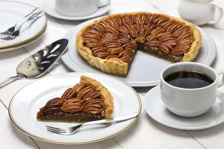 pecan pie: pastel de pacanas caseras Foto de archivo