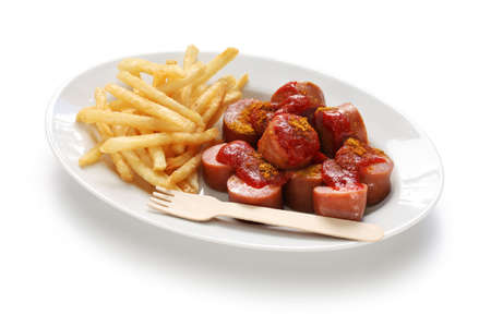 currywurst, curry sausage, german food isolated on white background