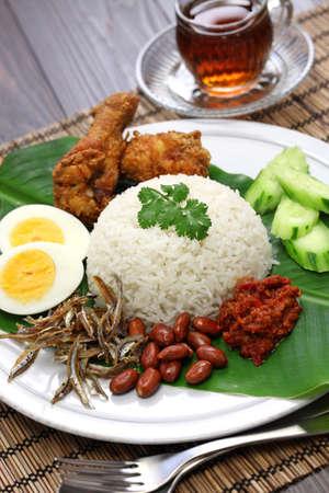 aliment: nasi lemak, riz au lait de coco, cuisine malaisienne Banque d'images