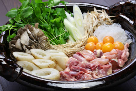 japanese chicken hot pot cuisine, kritanpo nabe with hinaizidori Stock Photo