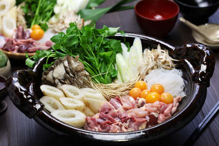 japanese chicken hot pot cuisine, kritanpo nabe with hinaizidori photo