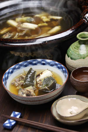 manjar: suppon nabe, tortuga de caparazón blando japonés olla caliente guiso