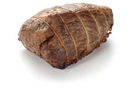 british cuisine: roast beef isolated on white background