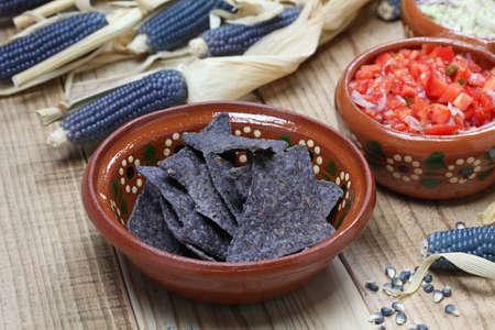 corn tortilla: blue corn tortilla chips with salsa