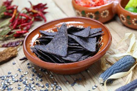 corn chip: blue corn tortilla chips with salsa