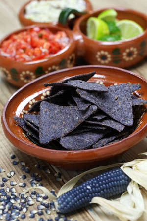 food backgrounds: blue corn tortilla chips with salsa