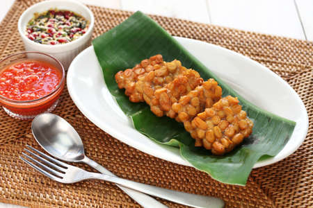 goreng: fried tempeh, indonesian food, vegetarian food, soybean product, tempeh goreng