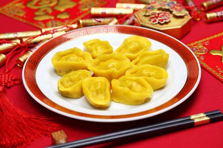 chinese new year food: homemade chinese gold ingot dumplings, new year food, spring festival food