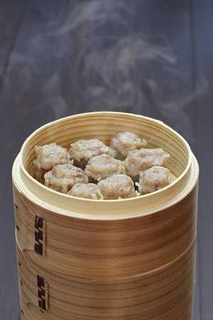 shu: shu mai, shao mai, chinese food in bamboo steamer