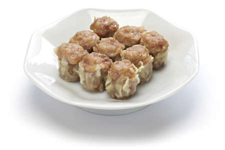 shu: shu mai, shao mai, chinese dim sum dish isolated on white background Stock Photo