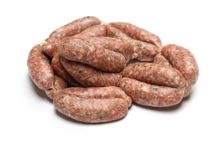 stuffer: raw sausage isolated on white background