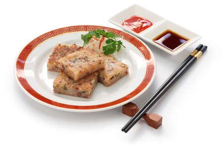cha: homemade turnip cake, chinese dim sum dish