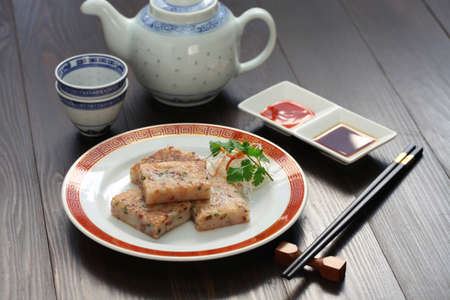 homemade turnip cake, chinese dim sum dish