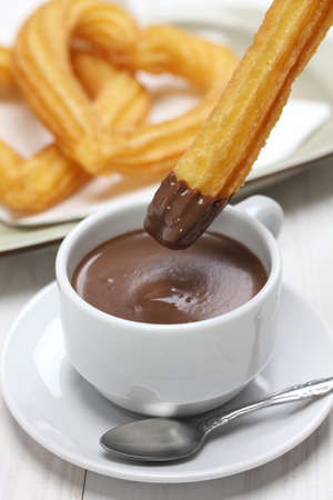 churros: churros and hot chocolate, spanish breakfast