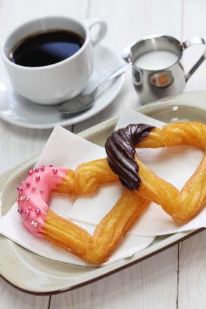 homemade heart shape churro, valentines day dessert photo