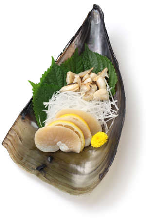 shell: tairagi pacific pen shell sashimi, japanese cuisine Stock Photo