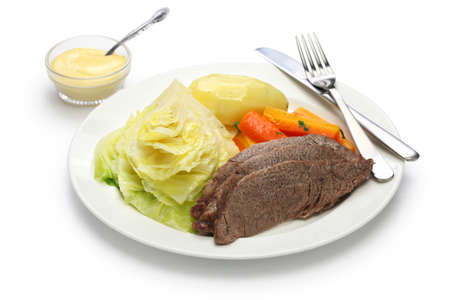 corned beef and cabbage isolated on white background, irish cuisine