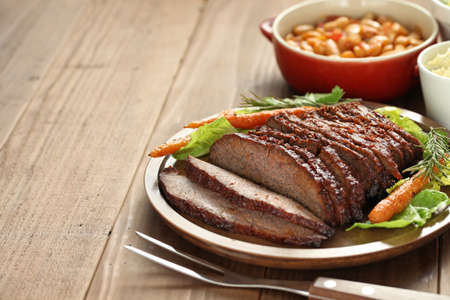 meat steak: barbecue beef brisket, texas style Stock Photo