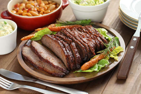 beef cuts: barbecue beef brisket, texas style Stock Photo