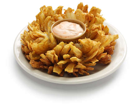 onion isolated: homemade blooming onion isolated on white background, american food Stock Photo