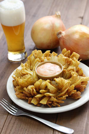 onion isolated: homemade blooming onion and beer, american food