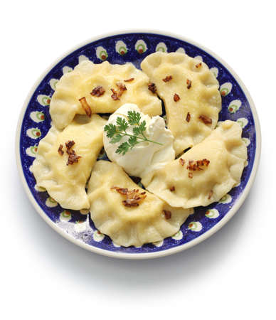 pierogi: homemade pierogi dumplings, polish food isolated on whte background