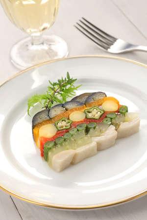 homemade vegetable terrine, vegetarian cuisine photo