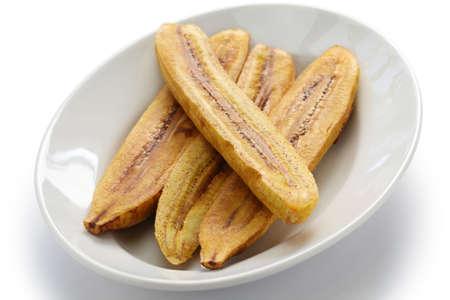 plantain: fried plantain banana on white background