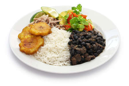 cuban cuisine, arroz con frijoles negros Stock Photo