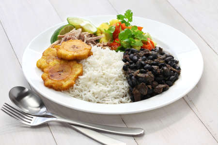 black dish: cuban cuisine, arroz con frijoles negros Stock Photo