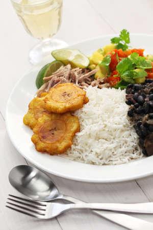 caribbean food: cuban cuisine, arroz con frijoles negros Stock Photo
