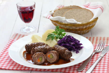 roulade: rinderrouladen, beef olive, german beef roll Stock Photo