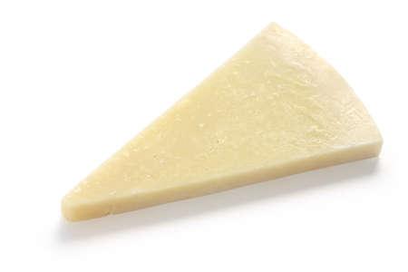 cheese: pecorino romano, hard italian sheep milk cheese isolated on white background