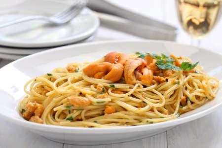 urchin: pasta with sea urchin roe italian cuisine Stock Photo