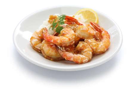 garlic shrimp hawaiian food isolated on white background
