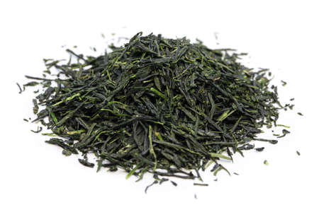 heap of japanese green tea isolated on white background